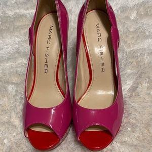 Marc Fisher Pink/ Red MF Tumble 7 Heels Size US 7M